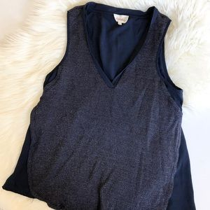 Deletta Anthropology layered navy tank
